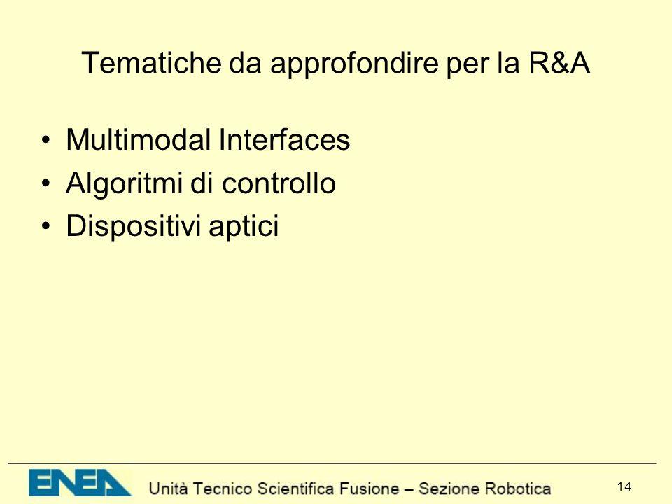 Tematiche da approfondire per la R&A