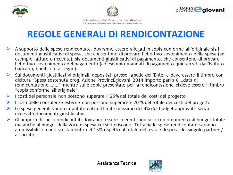 REGOLE GENERALI DI RENDICONTAZIONE