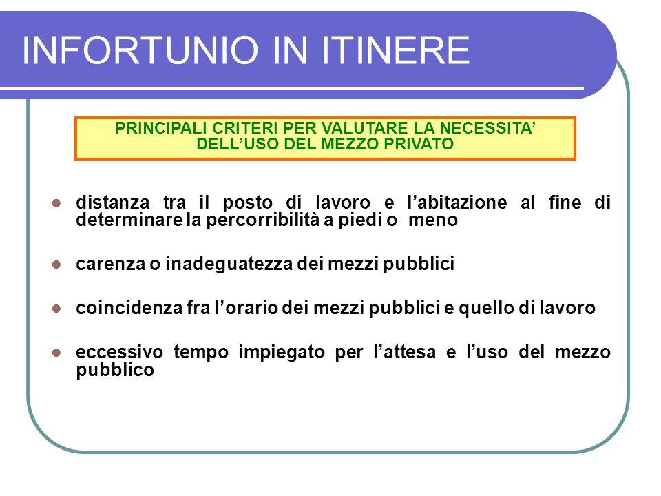 INFORTUNIO IN ITINERE PRINCIPALI CRITERI PER VALUTARE LA NECESSITA' DELL'USO DEL MEZZO PRIVATO.