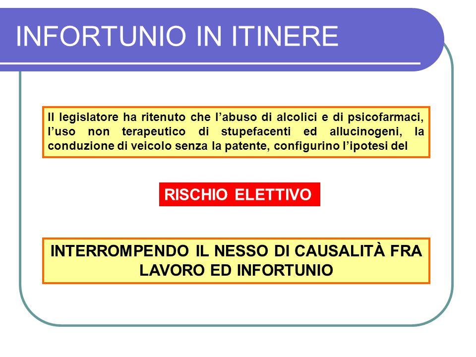 INTERROMPENDO IL NESSO DI CAUSALITÀ FRA LAVORO ED INFORTUNIO