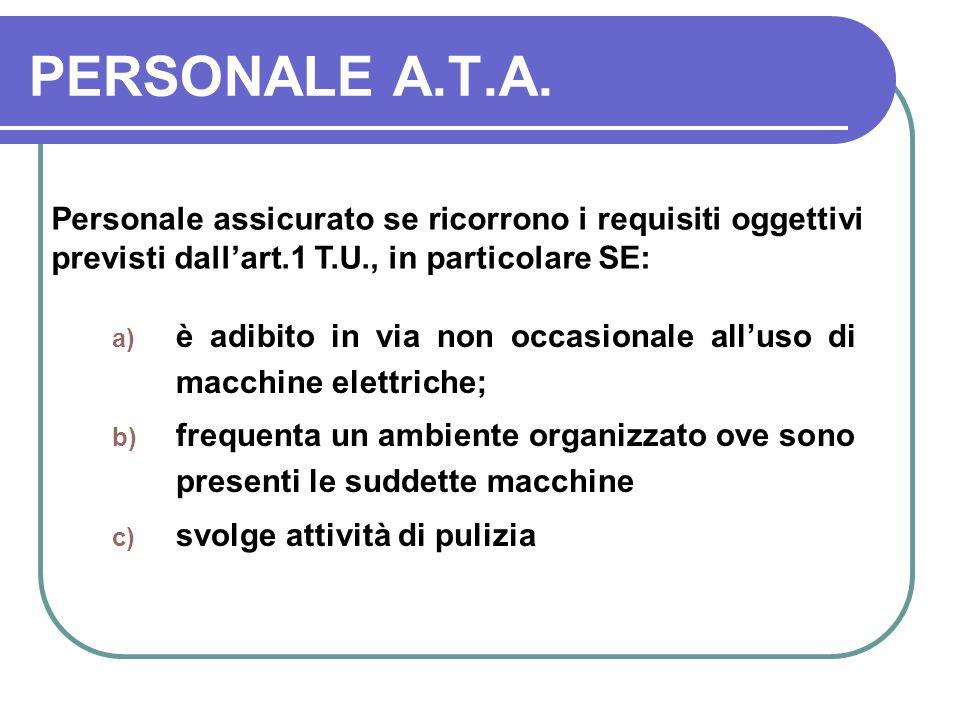 PERSONALE A.T.A. Personale assicurato se ricorrono i requisiti oggettivi previsti dall'art.1 T.U., in particolare SE: