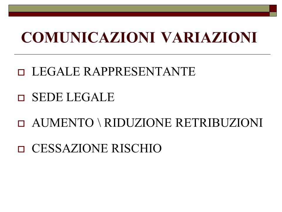 COMUNICAZIONI VARIAZIONI