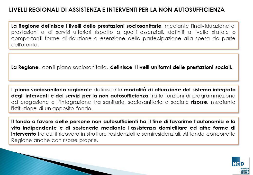 LIVELLI REGIONALI DI ASSISTENZA E INTERVENTI PER LA NON AUTOSUFFICIENZA