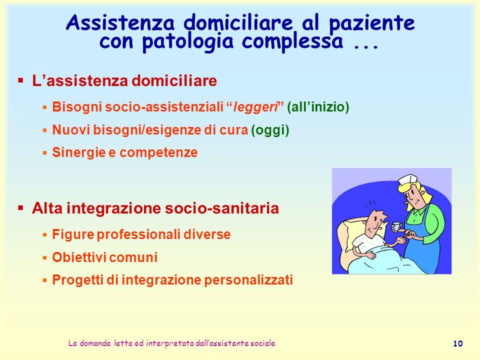 Assistenza domiciliare al paziente con patologia complessa ...
