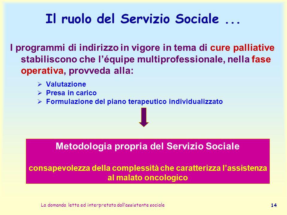 Il ruolo del Servizio Sociale ...