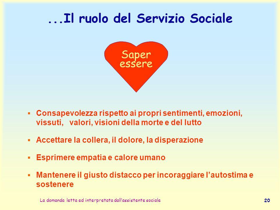 ...Il ruolo del Servizio Sociale