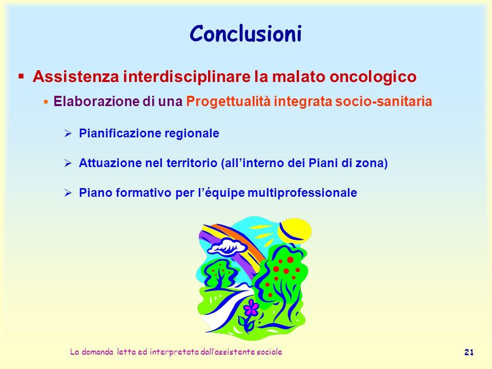 Conclusioni Assistenza interdisciplinare la malato oncologico