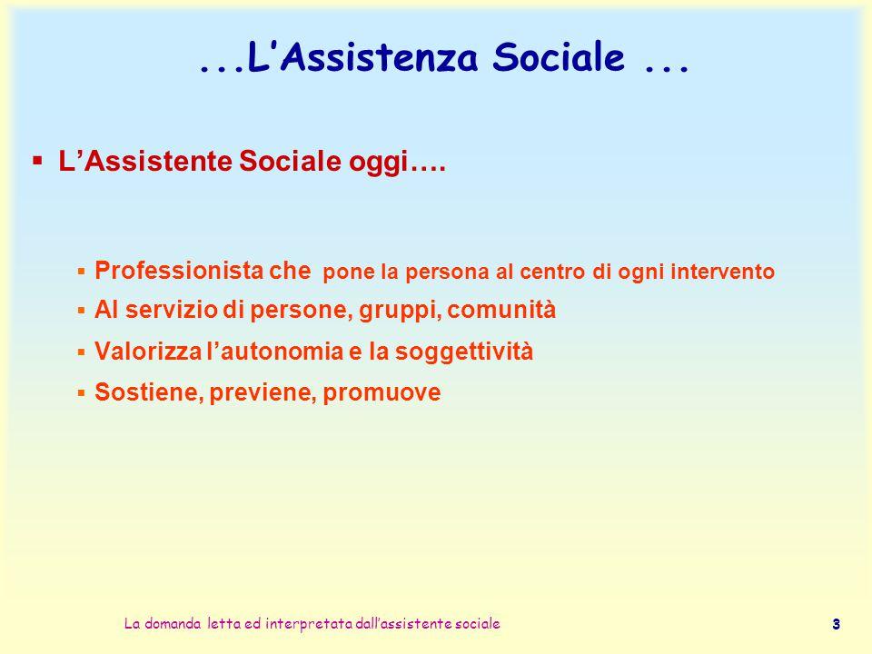 ...L'Assistenza Sociale ... L'Assistente Sociale oggi….