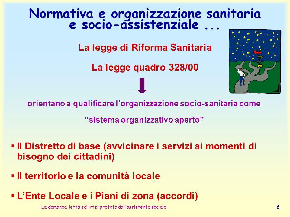 Normativa e organizzazione sanitaria e socio-assistenziale ...