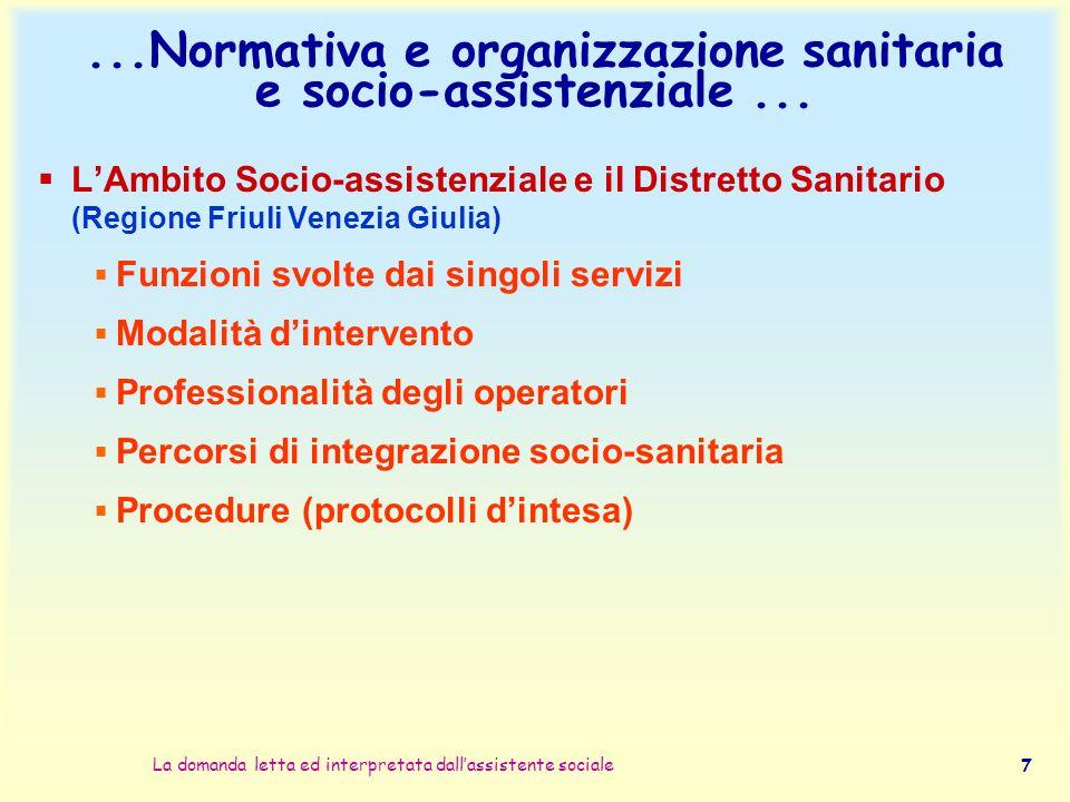 ...Normativa e organizzazione sanitaria e socio-assistenziale ...