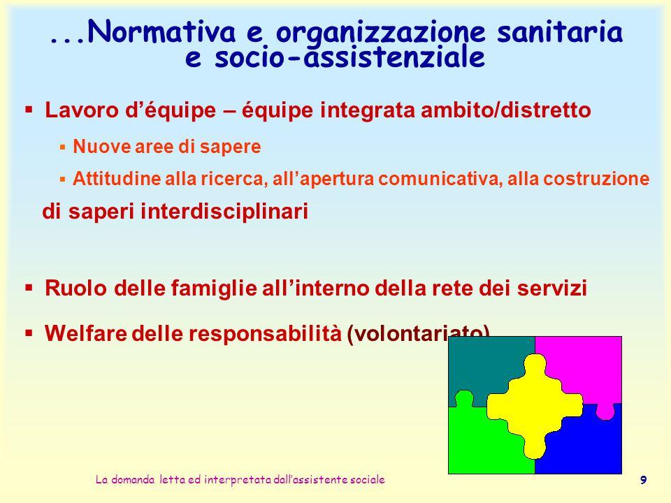 ...Normativa e organizzazione sanitaria e socio-assistenziale