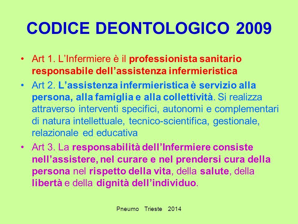 CODICE DEONTOLOGICO 2009 Art 1. L'Infermiere è il professionista sanitario responsabile dell'assistenza infermieristica.