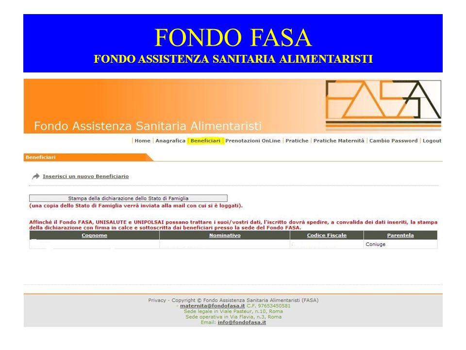 FONDO FASA FONDO ASSISTENZA SANITARIA ALIMENTARISTI