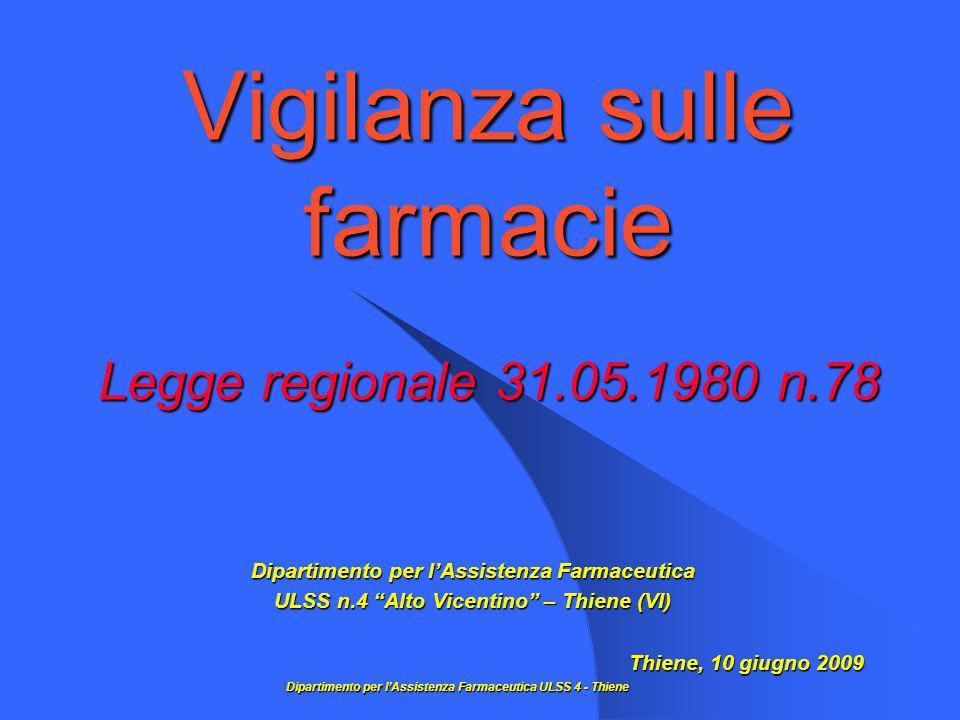 Vigilanza sulle farmacie Legge regionale 31.05.1980 n.78