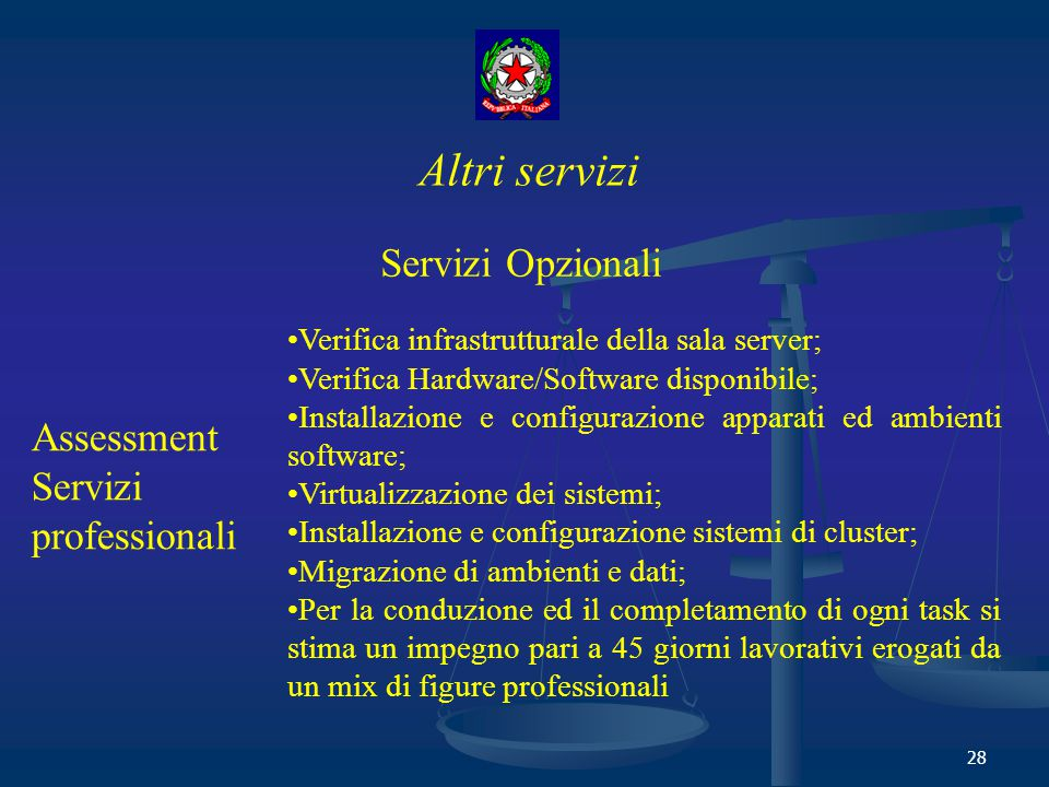 Altri servizi Servizi Opzionali Assessment Servizi professionali