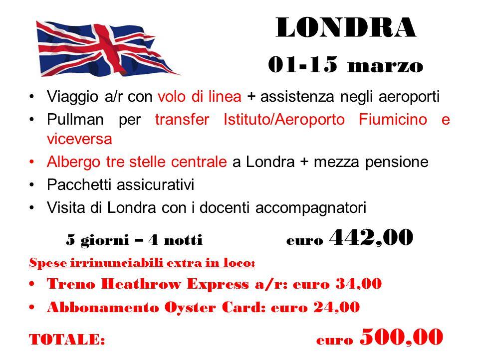 LONDRA 01-15 marzo Viaggio a/r con volo di linea + assistenza negli aeroporti.