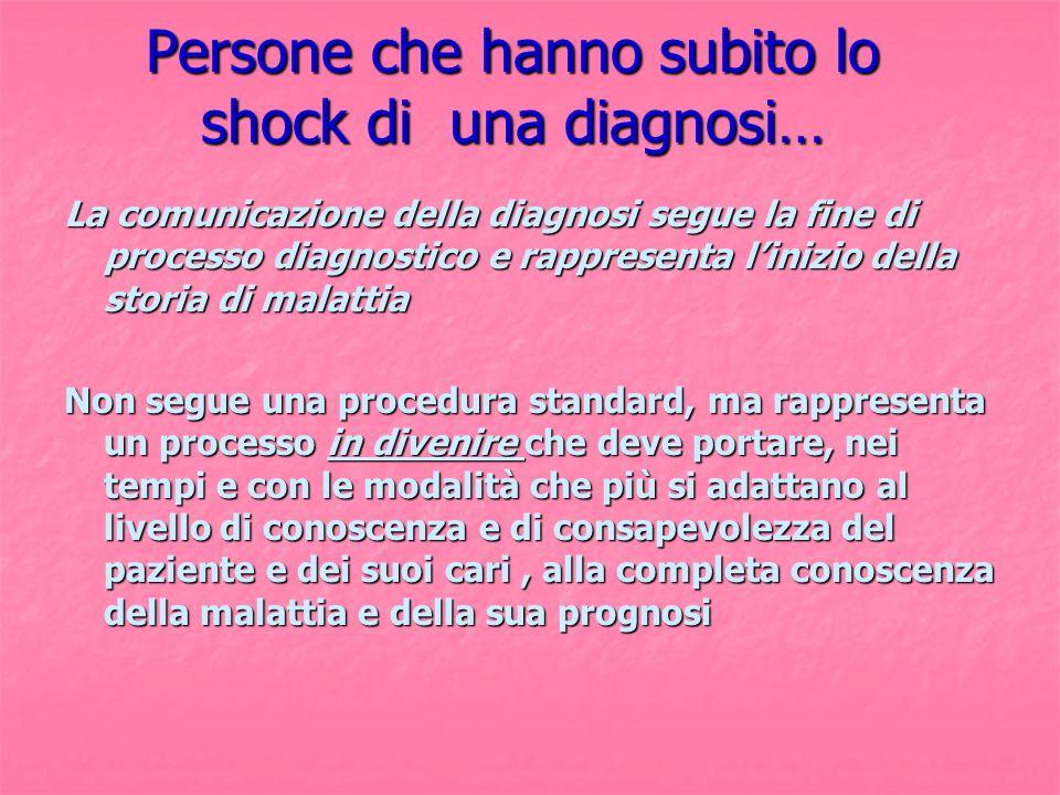 Persone che hanno subito lo shock di una diagnosi…