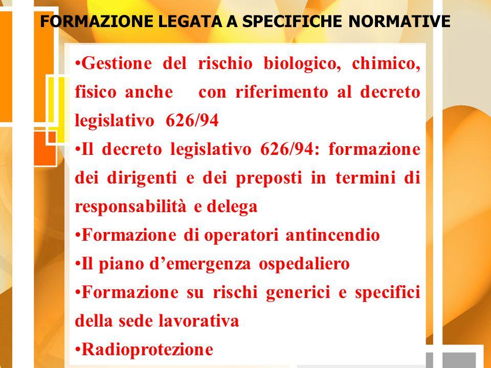 FORMAZIONE LEGATA A SPECIFICHE NORMATIVE