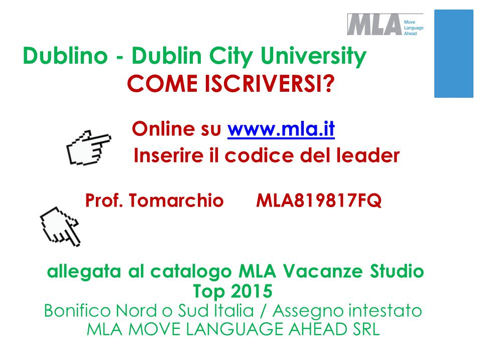 Dublino - Dublin City University COME ISCRIVERSI