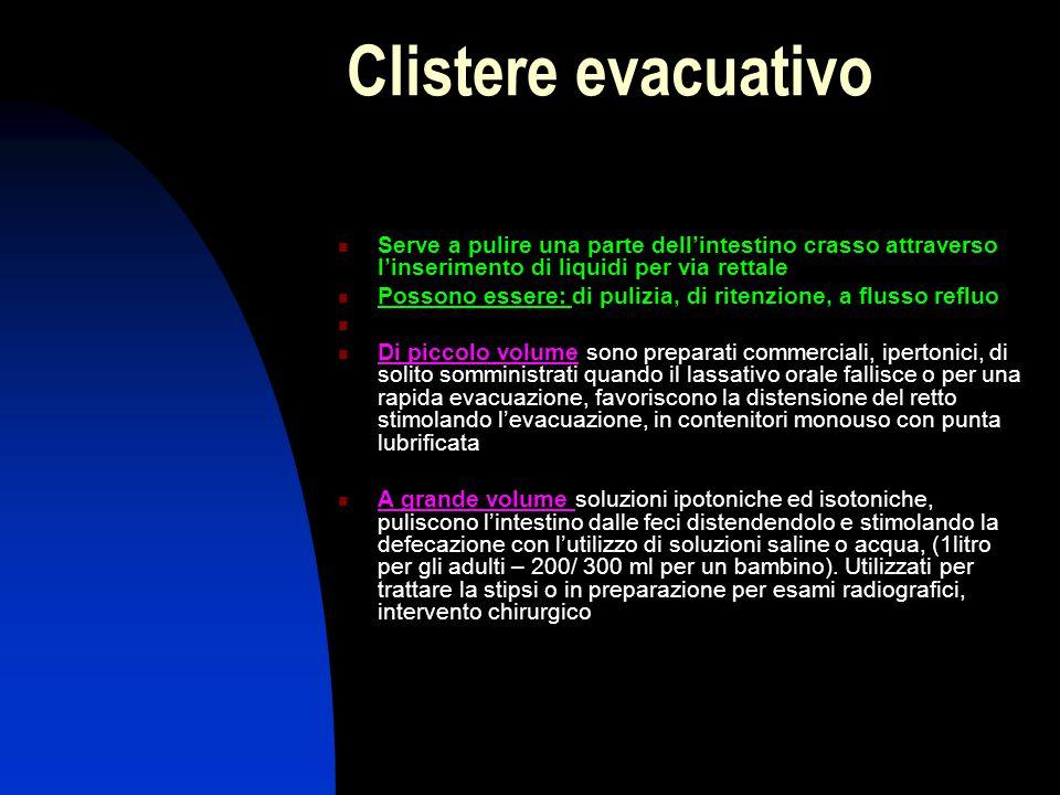 Clistere evacuativo Serve a pulire una parte dell'intestino crasso attraverso l'inserimento di liquidi per via rettale.
