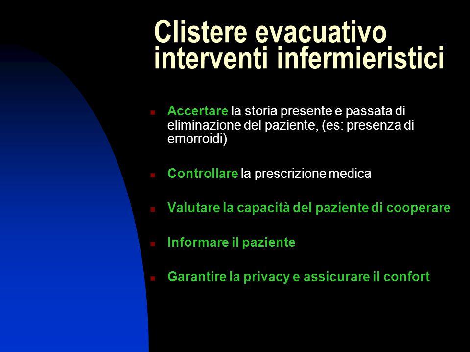 Clistere evacuativo interventi infermieristici