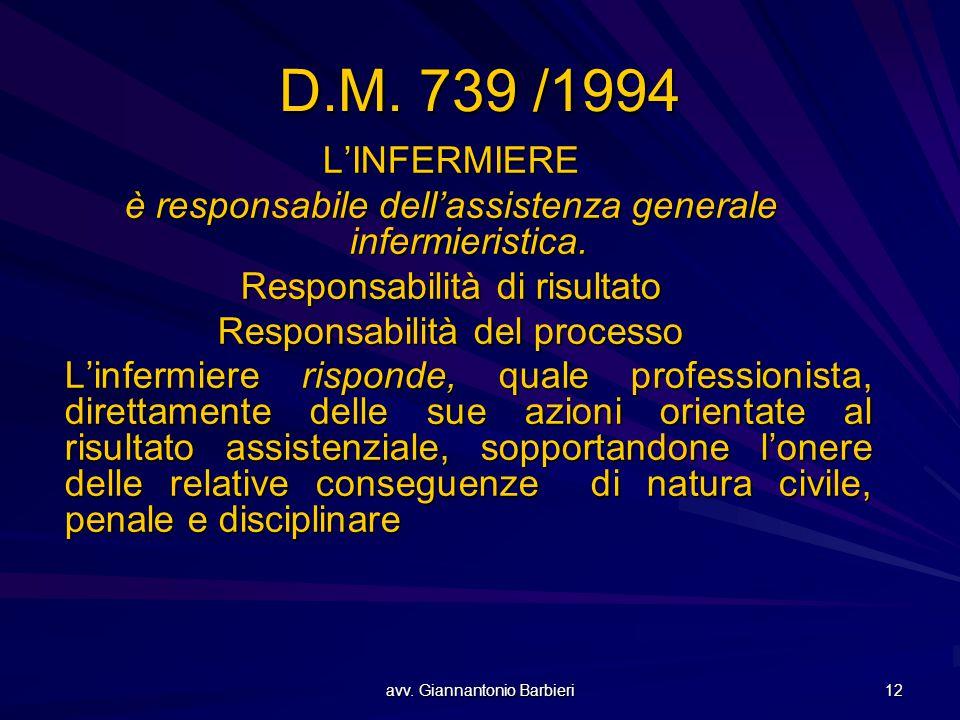 D.M. 739 /1994 L'INFERMIERE. è responsabile dell'assistenza generale infermieristica. Responsabilità di risultato.