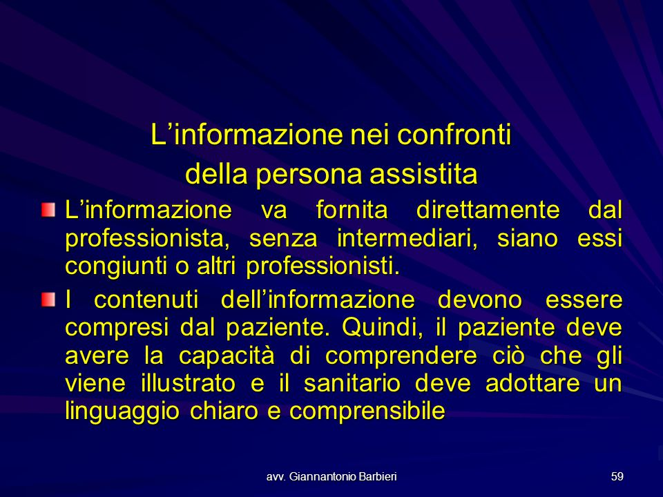 L'informazione nei confronti della persona assistita
