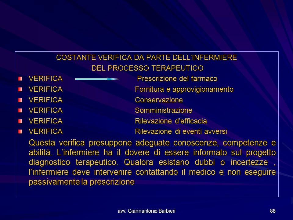 COSTANTE VERIFICA DA PARTE DELL'INFERMIERE