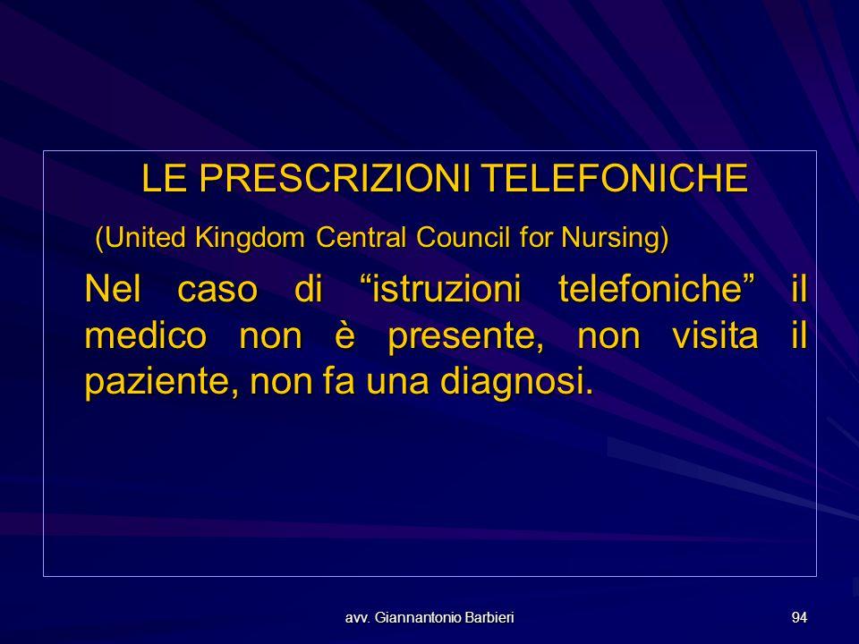 LE PRESCRIZIONI TELEFONICHE