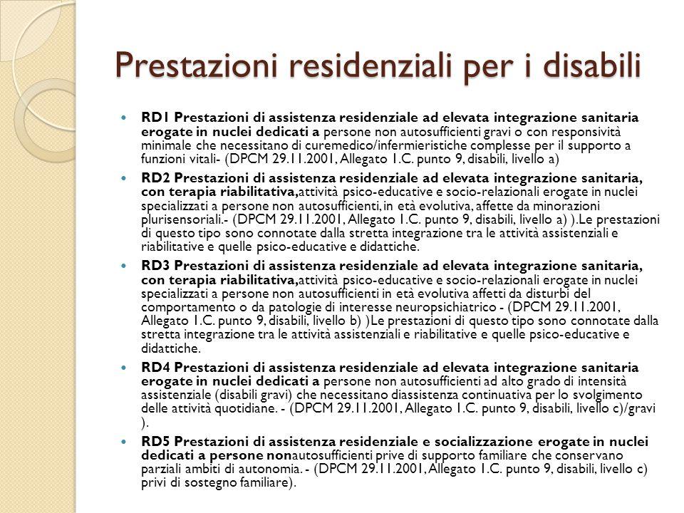 Prestazioni residenziali per i disabili