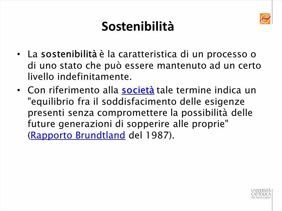 Sostenibilità La sostenibilità è la caratteristica di un processo o di uno stato che può essere mantenuto ad un certo livello indefinitamente.