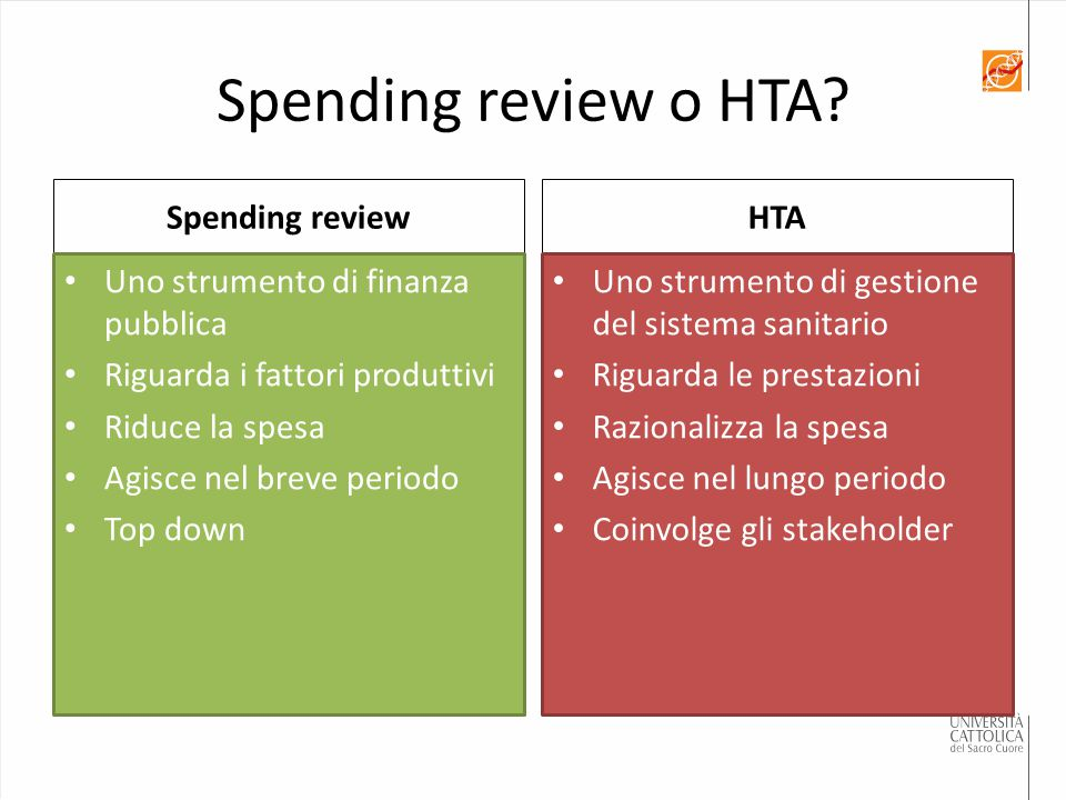 Spending review o HTA Spending review HTA