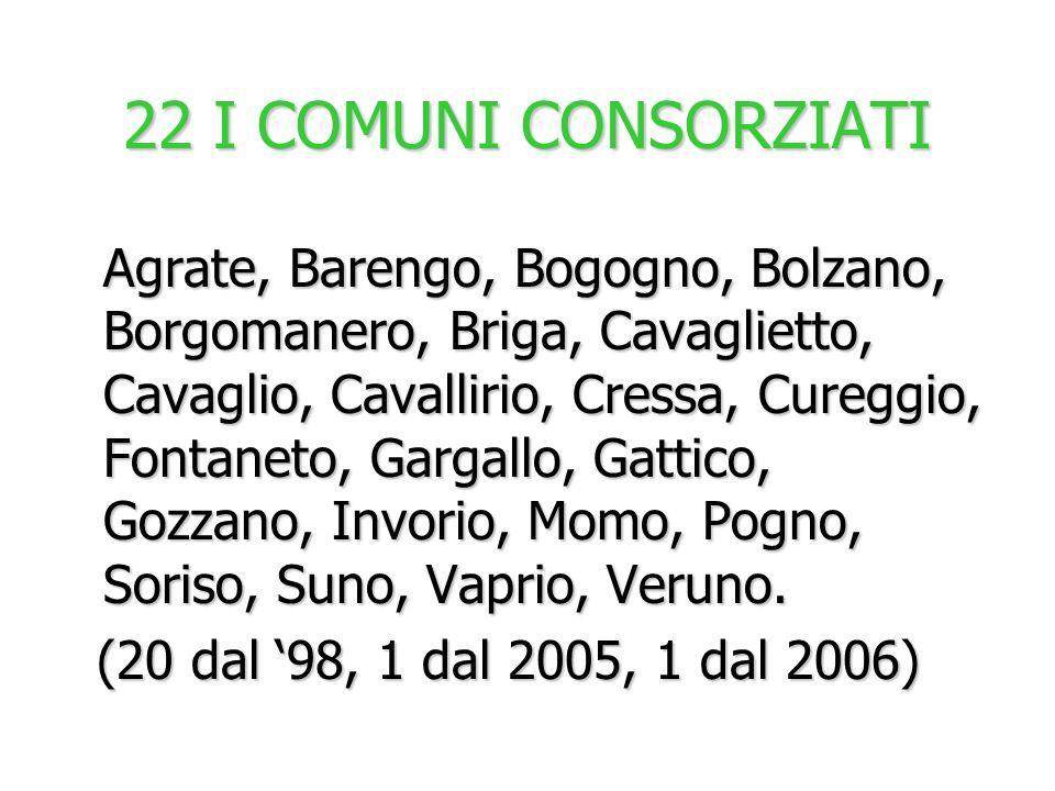 22 I COMUNI CONSORZIATI (20 dal '98, 1 dal 2005, 1 dal 2006)