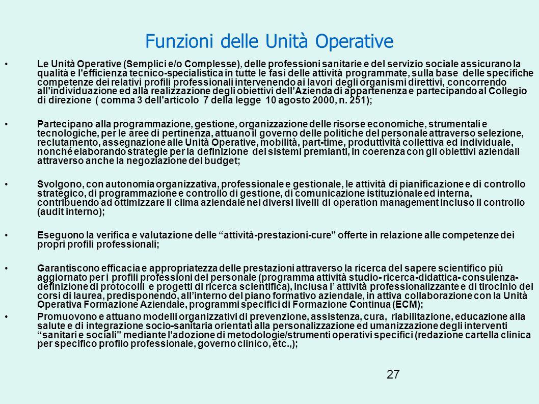 Funzioni delle Unità Operative