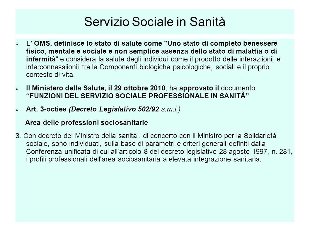 Servizio Sociale in Sanità