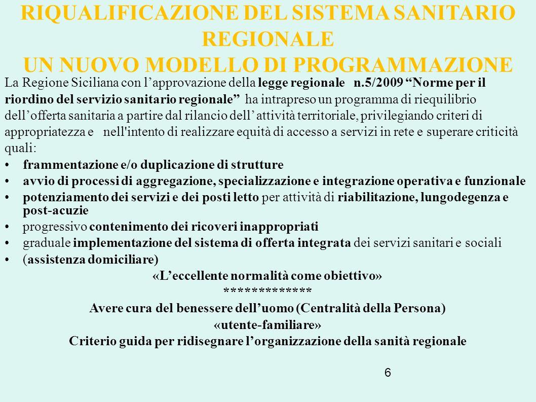 RIQUALIFICAZIONE DEL SISTEMA SANITARIO REGIONALE UN NUOVO MODELLO DI PROGRAMMAZIONE