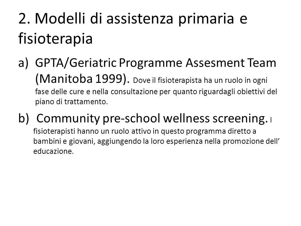 2. Modelli di assistenza primaria e fisioterapia