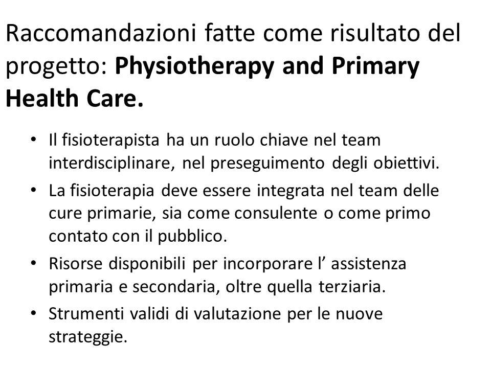 Raccomandazioni fatte come risultato del progetto: Physiotherapy and Primary Health Care.