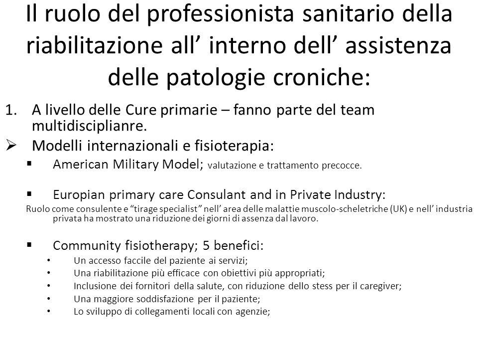 Il ruolo del professionista sanitario della riabilitazione all' interno dell' assistenza delle patologie croniche: