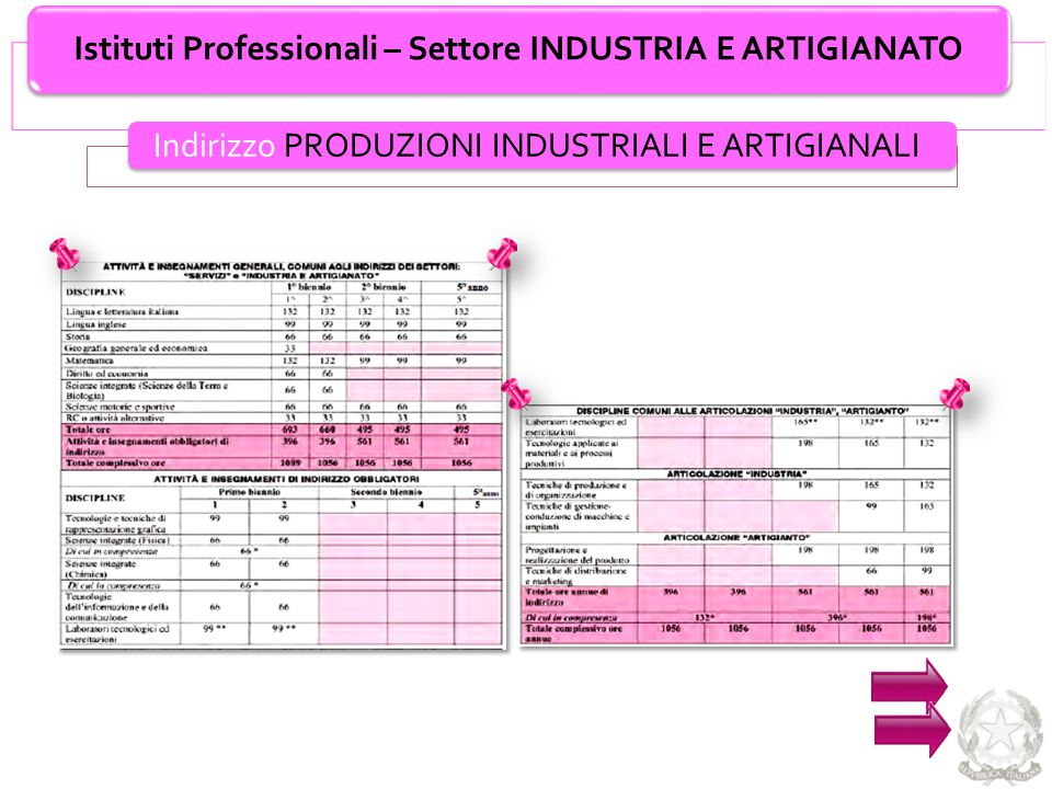 Istituti Professionali – Settore INDUSTRIA E ARTIGIANATO