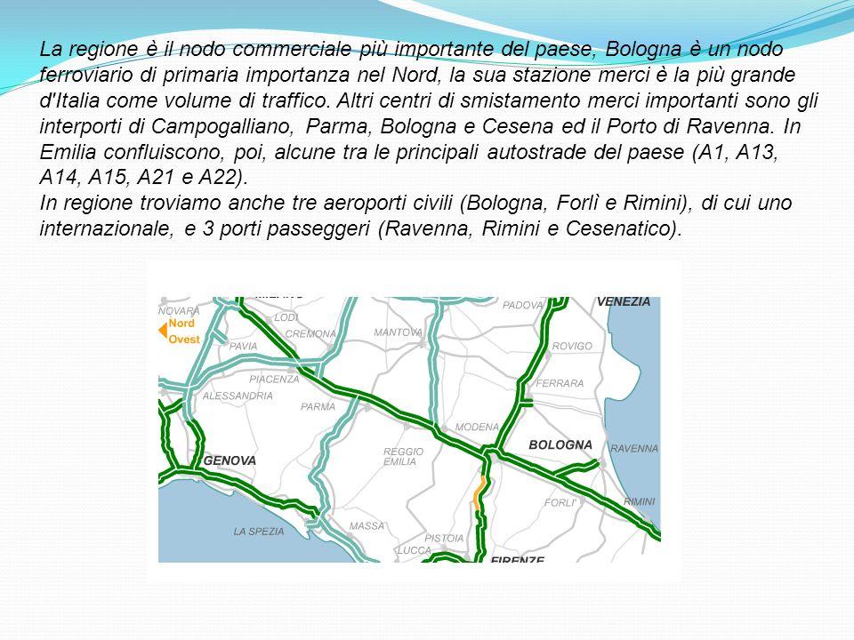 La regione è il nodo commerciale più importante del paese, Bologna è un nodo ferroviario di primaria importanza nel Nord, la sua stazione merci è la più grande d Italia come volume di traffico. Altri centri di smistamento merci importanti sono gli interporti di Campogalliano, Parma, Bologna e Cesena ed il Porto di Ravenna. In Emilia confluiscono, poi, alcune tra le principali autostrade del paese (A1, A13, A14, A15, A21 e A22).