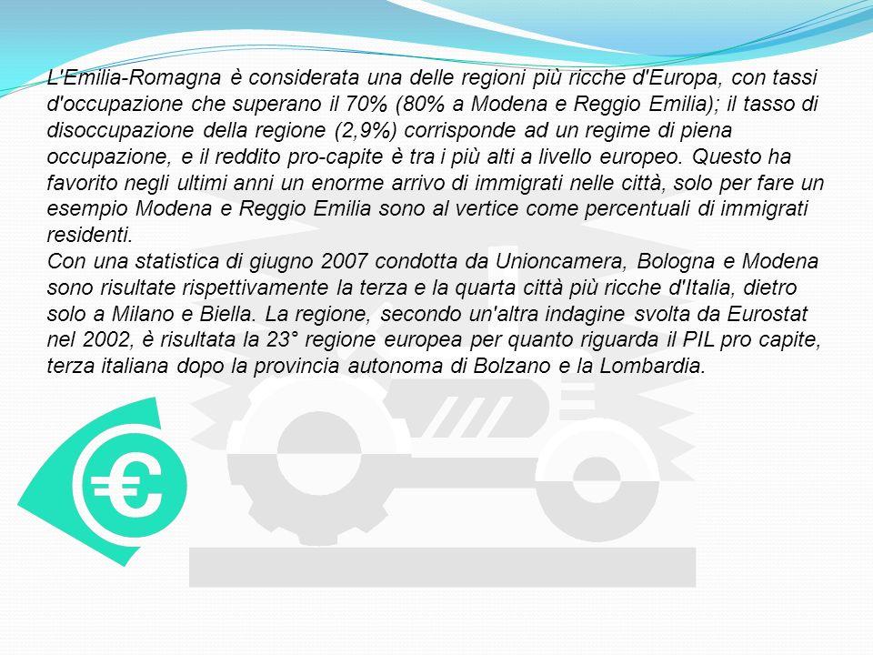 L Emilia-Romagna è considerata una delle regioni più ricche d Europa, con tassi d occupazione che superano il 70% (80% a Modena e Reggio Emilia); il tasso di disoccupazione della regione (2,9%) corrisponde ad un regime di piena occupazione, e il reddito pro-capite è tra i più alti a livello europeo. Questo ha favorito negli ultimi anni un enorme arrivo di immigrati nelle città, solo per fare un esempio Modena e Reggio Emilia sono al vertice come percentuali di immigrati residenti.