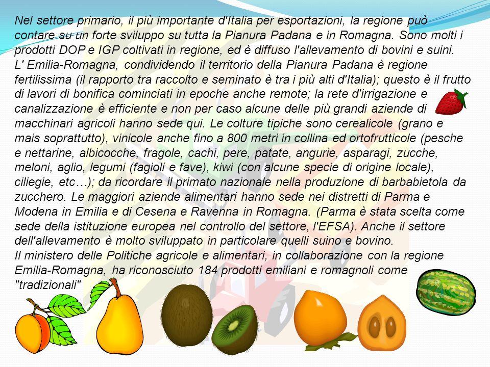 Nel settore primario, il più importante d Italia per esportazioni, la regione può contare su un forte sviluppo su tutta la Pianura Padana e in Romagna. Sono molti i prodotti DOP e IGP coltivati in regione, ed è diffuso l allevamento di bovini e suini.