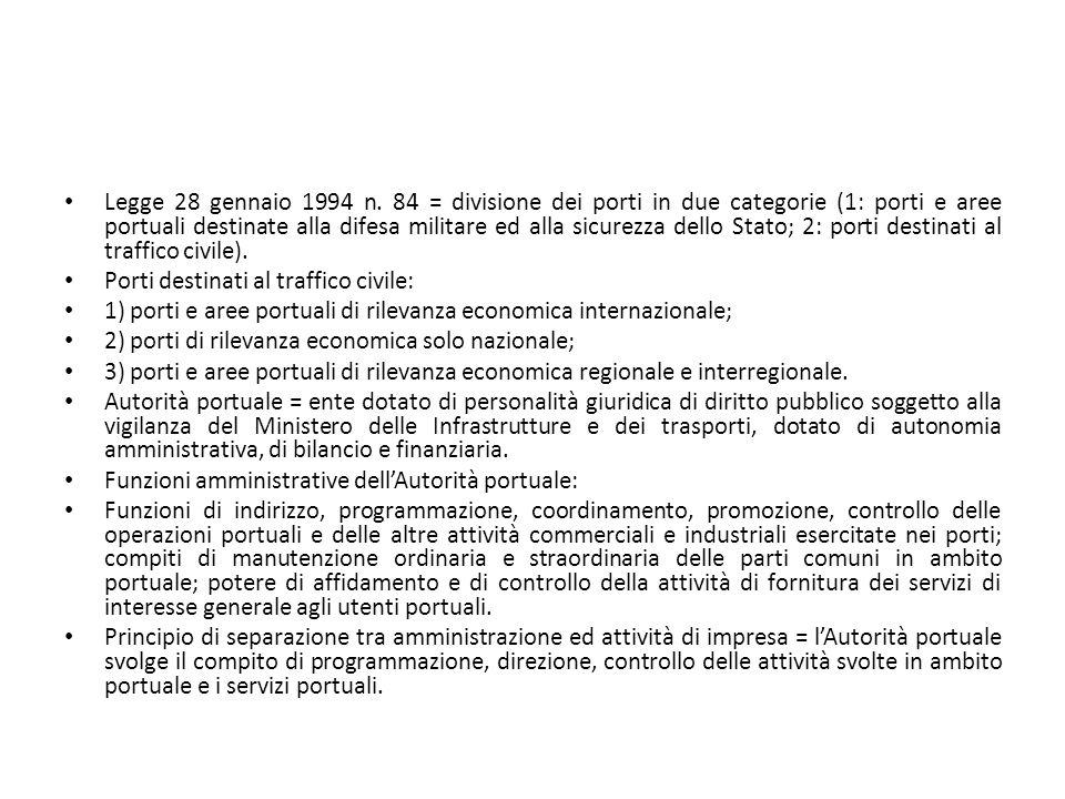 Legge 28 gennaio 1994 n. 84 = divisione dei porti in due categorie (1: porti e aree portuali destinate alla difesa militare ed alla sicurezza dello Stato; 2: porti destinati al traffico civile).