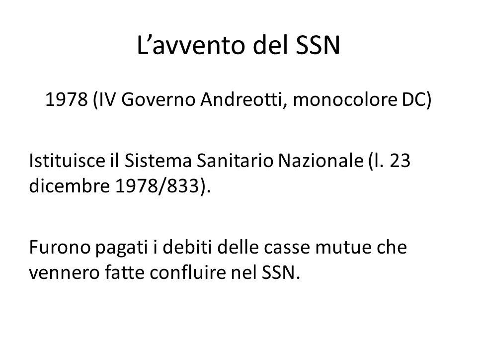 L'avvento del SSN