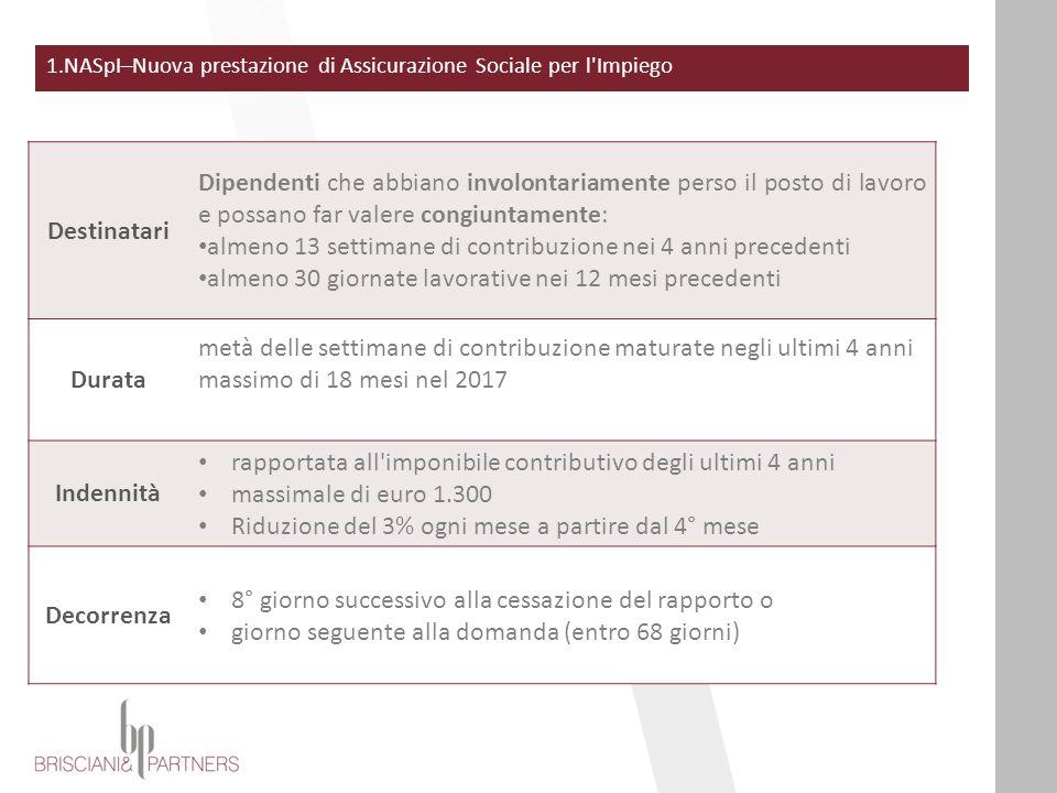 Indennità mensile che dal 1°maggio 2015 sostituirà ASpI e miniASpI