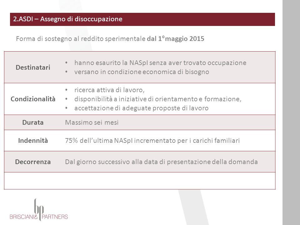 2.ASDI – Assegno di disoccupazione