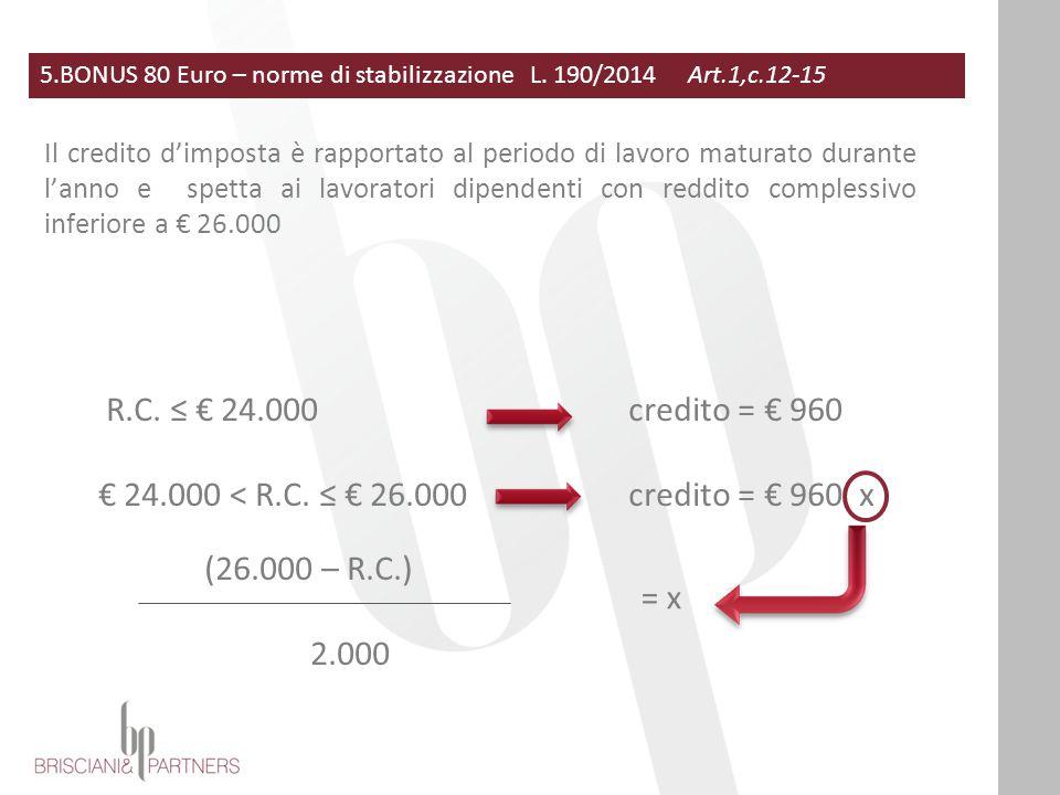 5.BONUS 80 Euro – norme di stabilizzazione L. 190/2014 Art.1,c.12-15