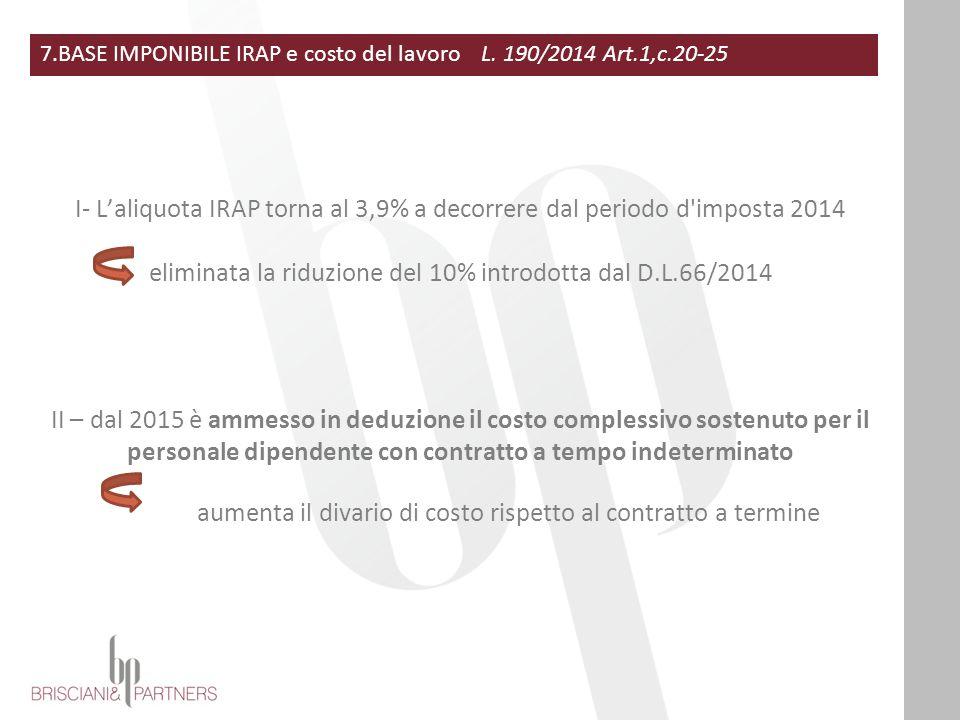 eliminata la riduzione del 10% introdotta dal D.L.66/2014
