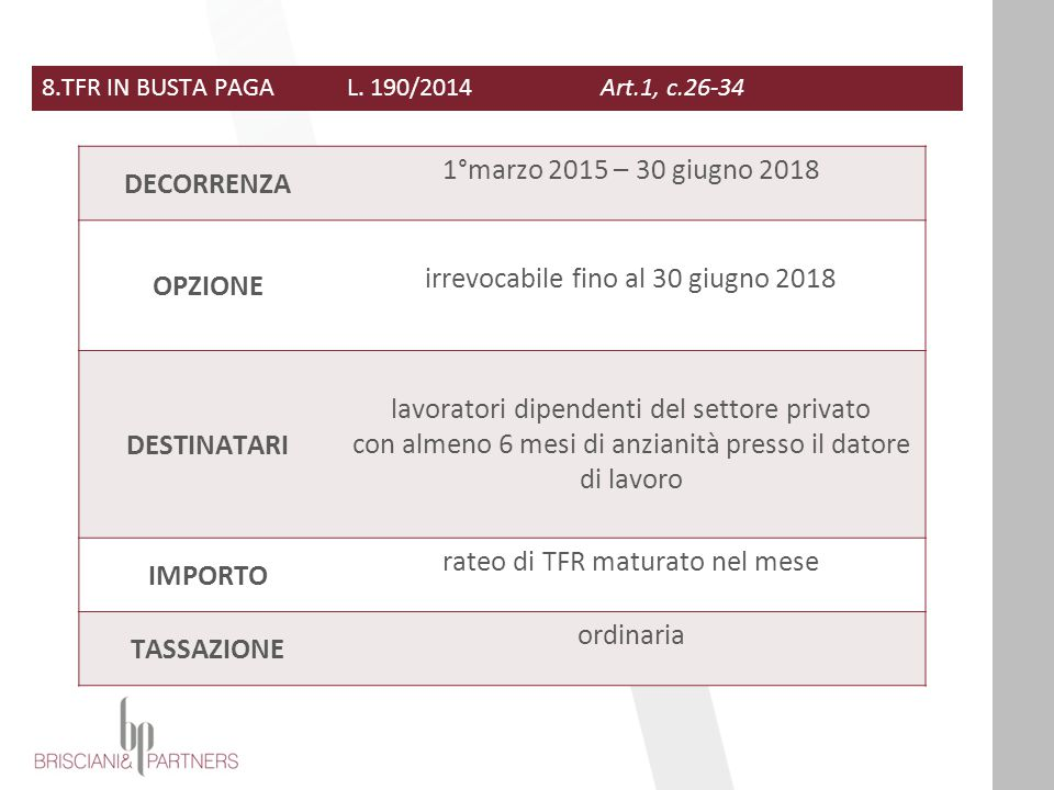 DECORRENZA OPZIONE DESTINATARI IMPORTO TASSAZIONE
